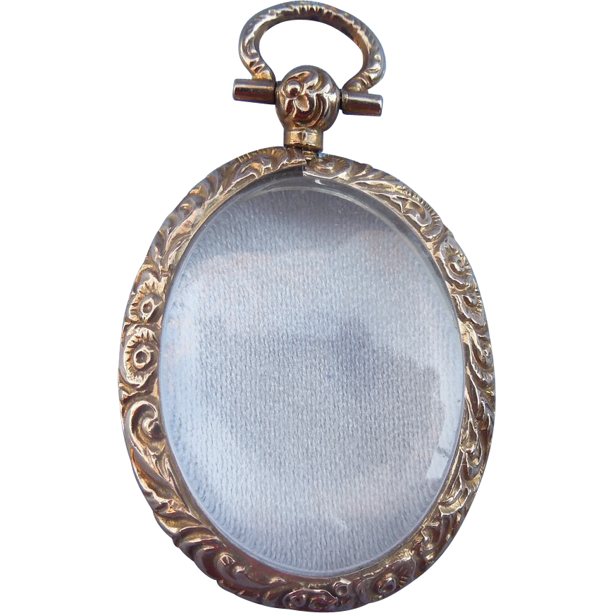 Gold, 9 carat, Glass, Locket, Victorian, Empty