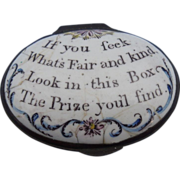 Battersea/Bilston Enamel Box With Motto, Georgian