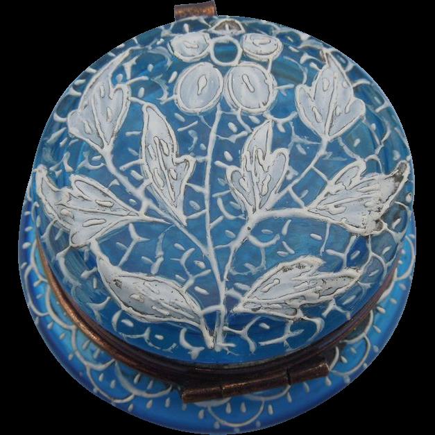 Painted, Blue Glass Pot, Victorian