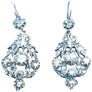 Rose Cut Diamond Earrings, Georgian