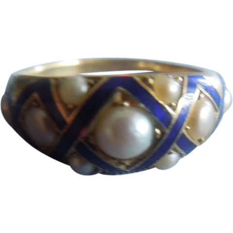 Blue Enamel and Natural Pearl Ring, Victorian