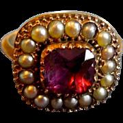 Amethyst and Natural Pearl Ring, Georgian
