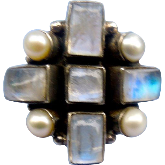 Moonstone Ring; Silver; Vintage