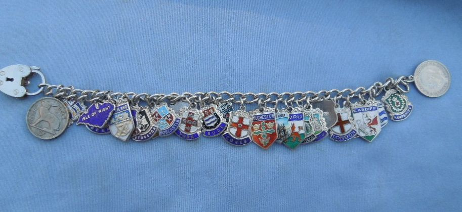 Silver and Enamel Charm Bracelet
