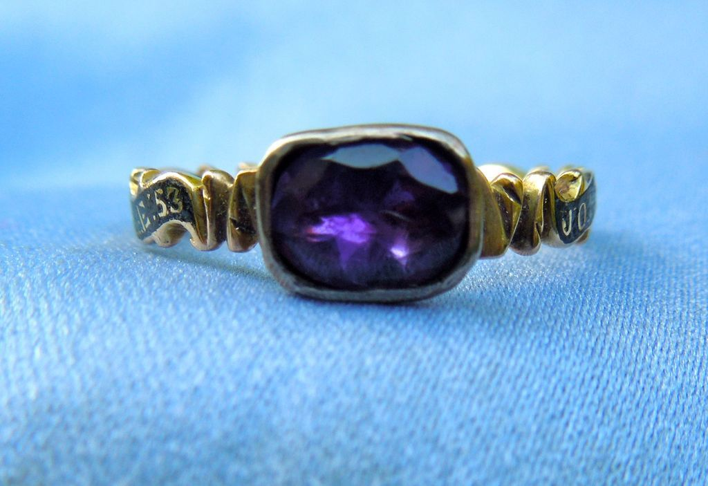 Memorial Ring, Mourning Jewelry, Georgian Enamel Band With Amethyst