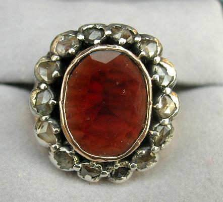 Garnet and Rose Cut Diamond Ring, Victorian