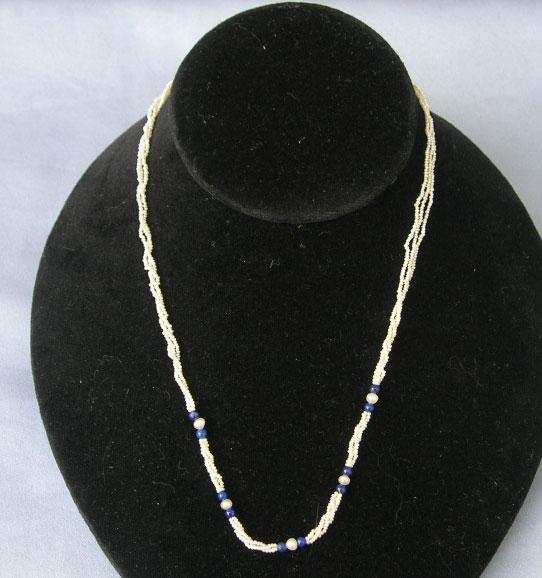 Necklet (Necklace), Seed Pearls, Lapis Beads, Victorian