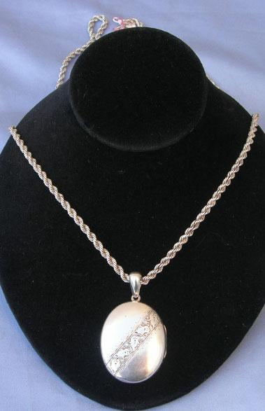 Silver Locket and Chain, Victorian