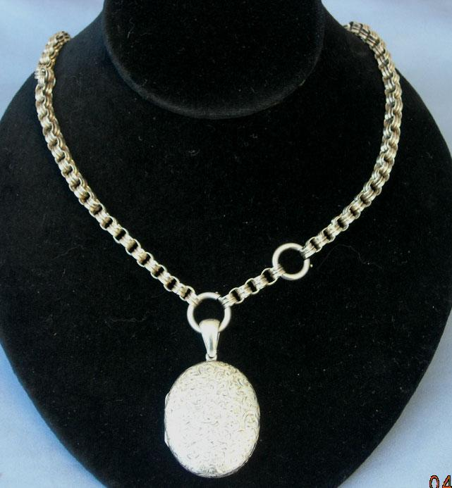 Silver (sterling) Locket and Albert Chain, Victorian