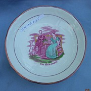 Pink Lustre Dessert Dish With Royal Family, Early Victorian