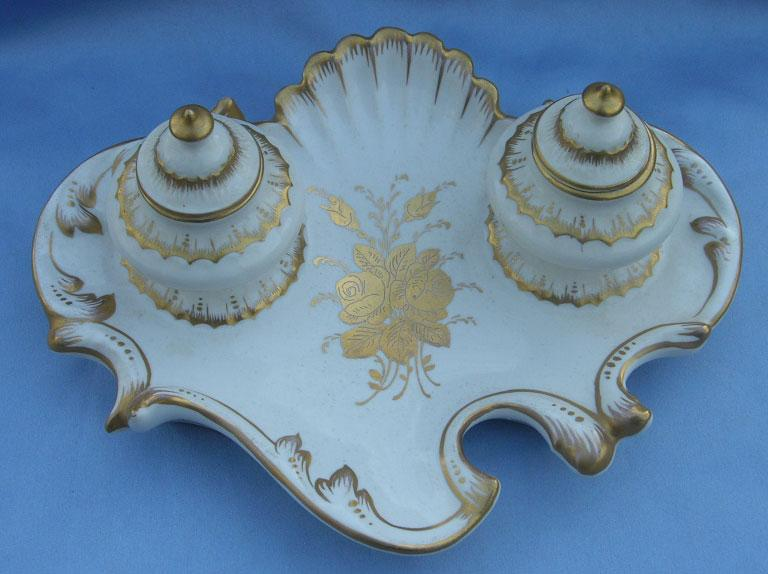 Porcelain Inkwell, Gilded, Victorian