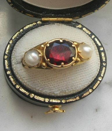 Mourning jewelry , Memorial Jewelry, Garnet and Pearl Ring, Early Victorian