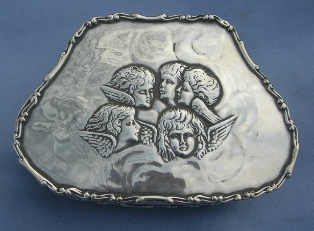 Silver (Sterling) Trinket Box, Edwardian, Reynolds' Angels
