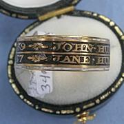 Mourning Jewelry, Memorial Jewelry, Black Enamel Band, Georgian, Double Memorial