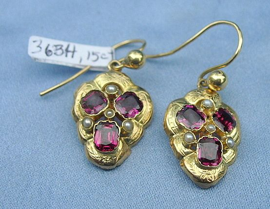 Garnet Earrings, 12 Carat, Victorian