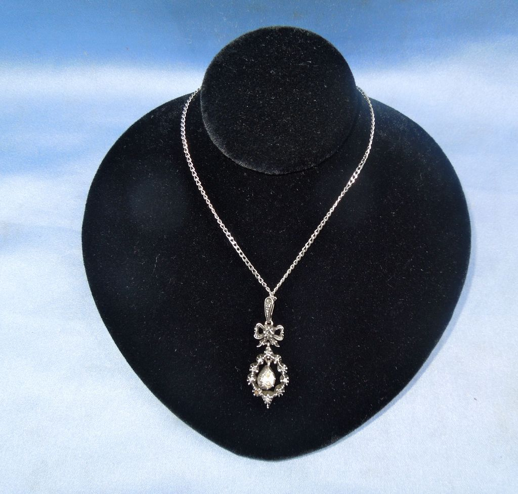 Georgian rose cut diamond bow pendant and chain