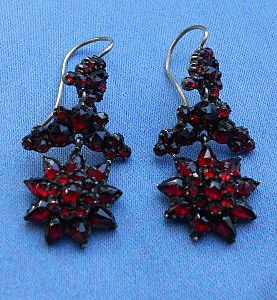 Bohemian Garnet Earrings, Flower Design, Victorian
