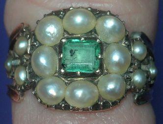 Emerald and Natural Pearl Ring, Georgian