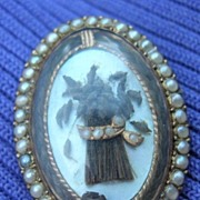 Mourning Jewelry, Memorial Jewelry, Georgian pendant, Wheat  Sheaf motif, pearl surround, gold