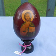 Wooden Russian icon on a stand