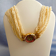 Stuart Crystal Clasp, Love Token, seed pearl necklace
