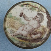 Battersea Bilston Enamel Box, Cupid, Georgian