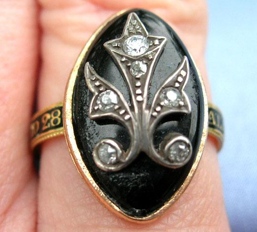Memorial Jewelry, Mourning Jewelry, Georgian Ring, Rose Cut Diamonds, Enamel band