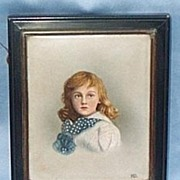 Portrait Miniature, Enamel, Young Girl, Late Victorian