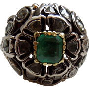 Emerald and rose cut diamond ring, Georgian