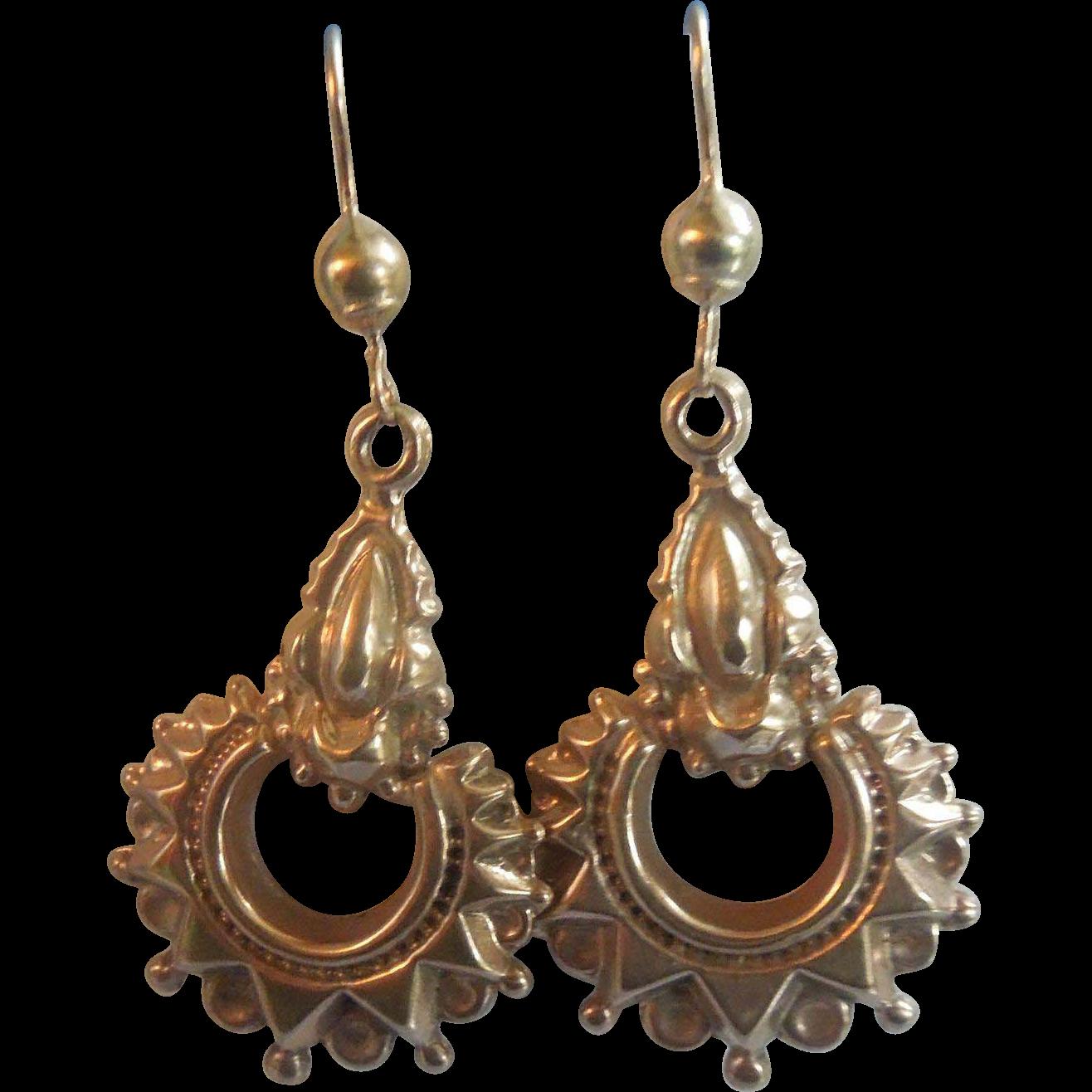 9 carat gold earrings, Victorian