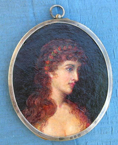 Portrait Miniature, Lady, Oil on Canvas, Victorian