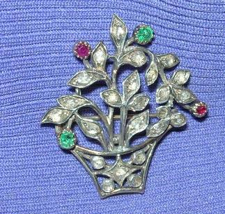 Rose Diamond, Ruby, and Emerald Basket Brooch, Victorian
