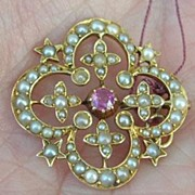 Ruby and Pearl Pendant,15 ct, Victorian