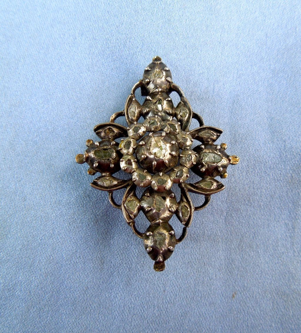 Rose Cut Diamond Brooch, Georgian