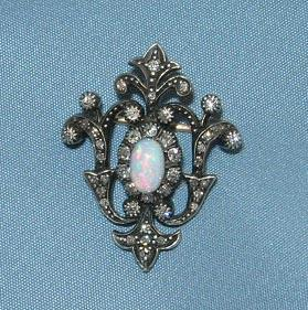 Pendant/Brooch/ Rose Cut Diamonds and Opal, Victorian