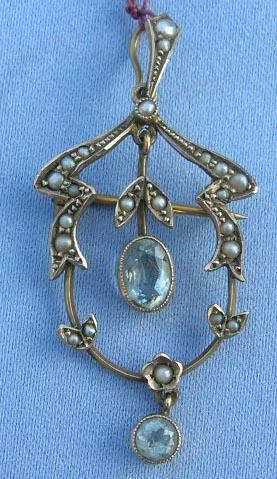 Pendant, Lavalier, Aquamarines and Pearls, Victorian