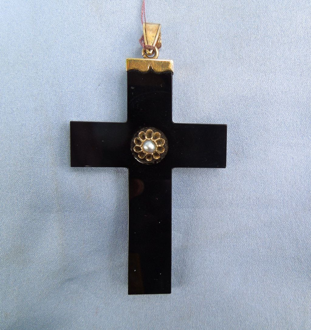 Onyx Cross With Pearl, Victorian