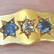 Gypsy Band Ring, Sapphire and Diamond, Edwardian
