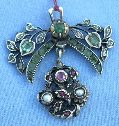 Pendant, Georgian, Rubies, Emeralds, and Diamonds
