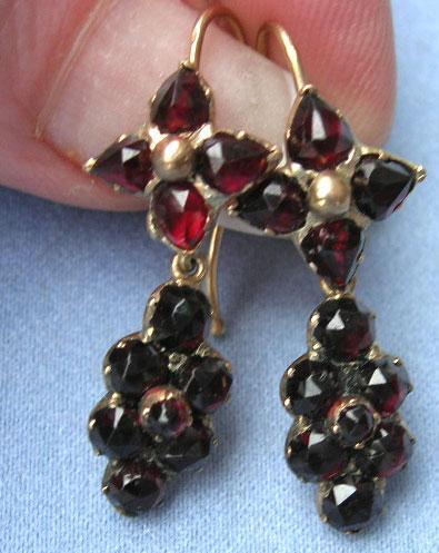 Bohemian Garnet Earrings Victorian 15 Ct Robbins