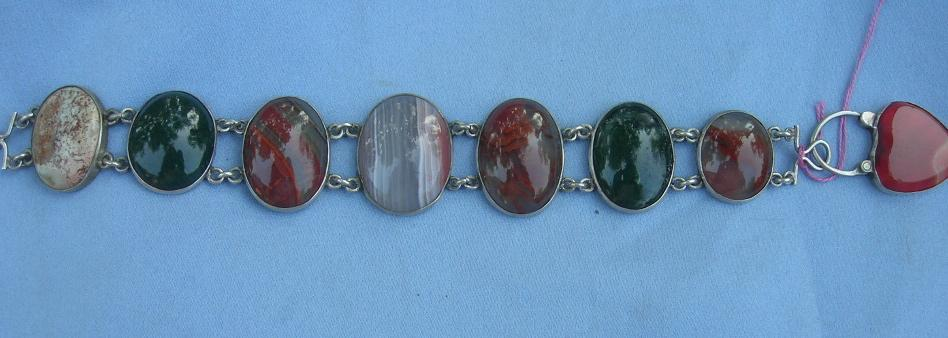 Scottish Pebble Bracelet, Silver and Agate, Heart Shaped Padlock, Victorian