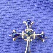 Blue Enamel Cross, 14 carat, with small diamonds, Edwardian