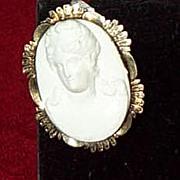 White Lava Cameo Brooch