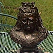 Bronze Memorial Bust of Queen Victoria,M. Geflowski, 1901