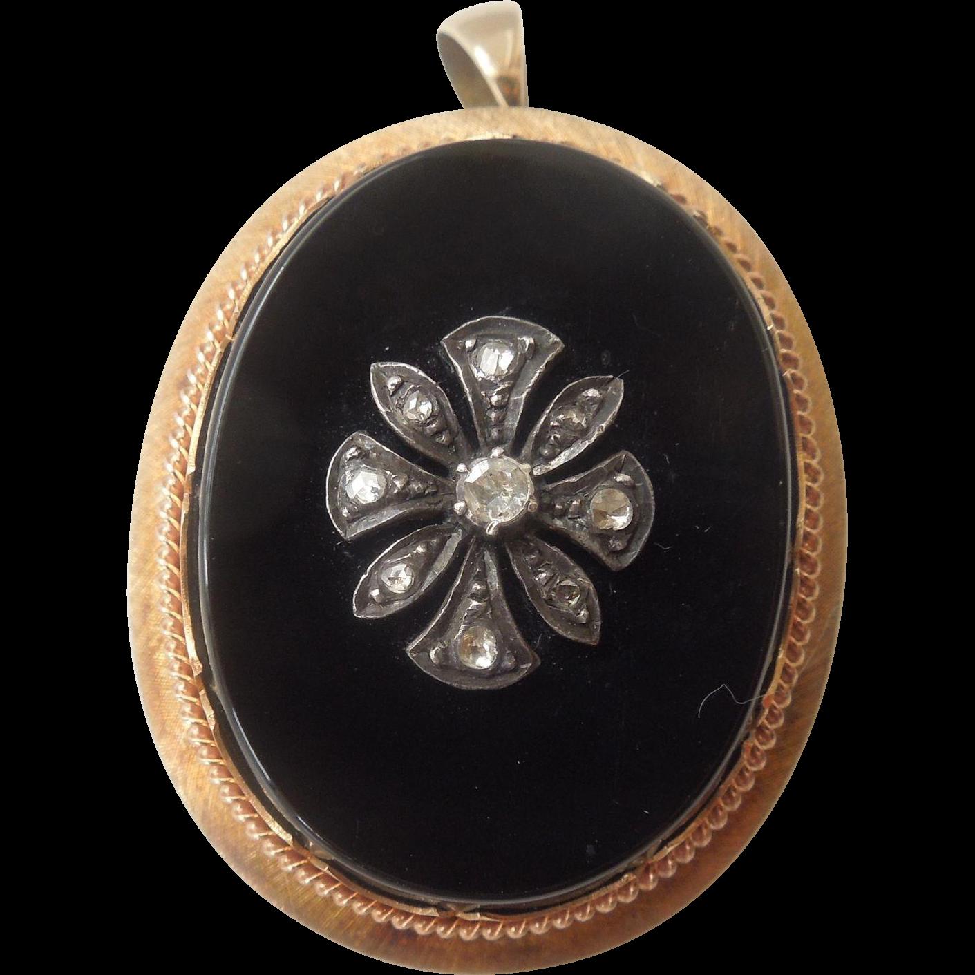 18 carat , onyx and diamond, brooch/pendant, Victorian.