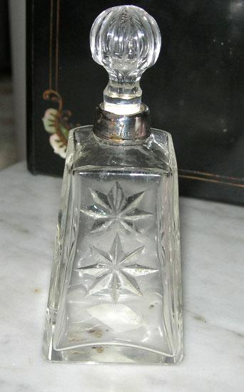 Glass Perfume bottle With Silver Neck