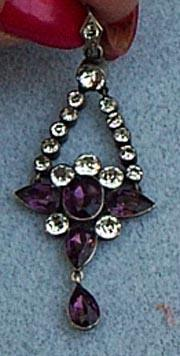 Victorian Paste and Silver Pendant, CA 1890