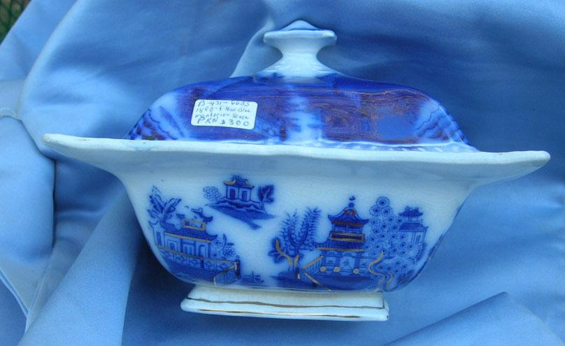 Flow Blue China, Sauce Tureen, Victorian, Mandarin