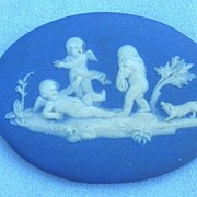 Wedgwood Plaque, Pre 1891, Blue Jasperware, Unframed