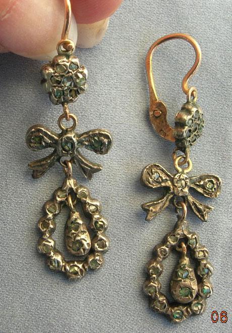 Rose Diamond Earrings, Bow Design, Victorian